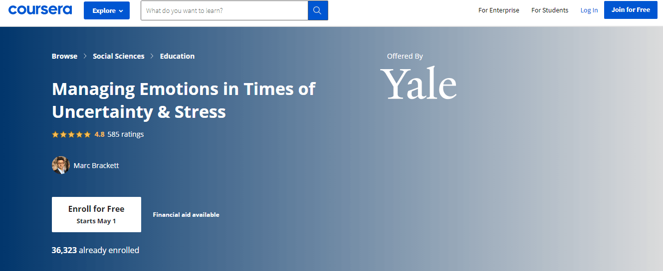 Yale Anger management Course by Coursera